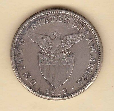US Philippines 1912-S One Peso Silver Crown 1 peso SCARCE Date