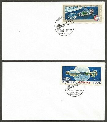 Us Space Covers 1975 Apollo Soyuz 10C #1569 #1570 Link-Up July 17Th Houston Tx