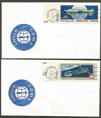 Us Space Covers 1975 Apollo Soyuz Space Test Project 10C #1569 1570 Greenbelt Md