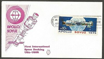 Us Fdc 1975 Apollo Soyuz 10C #1569 Space Docking Bean First Day Of Issue Cover