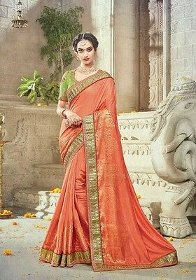 Latest Indian Designer Bollywood Orange Sarees Pakistani Ethnic Wedding Sari