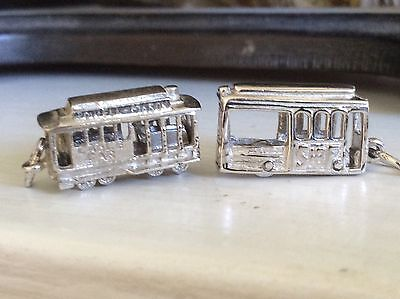 SAN FRANCISCO CABLE CARS SF CA - 2 Sterling Bracelet Charms Vintage Movable