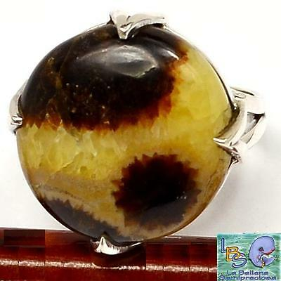 ¡Precioso anillo de plata y Septaria NATURAL SEPTARIAN .925 STERLING SILVER RING
