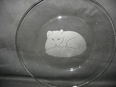 """New Etched Arctic Fox 10"""" Glass Plate"""