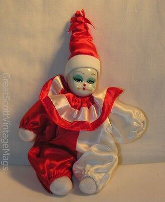 "Porcelain Face Harlequin Clown Baby Doll Cloth Body 9"" Tall"
