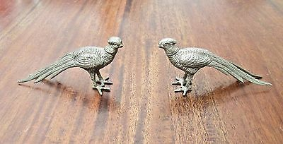Beautiful Pair Of Old Silver Plate Pheasant Statues - Cock & Hen Pheasants