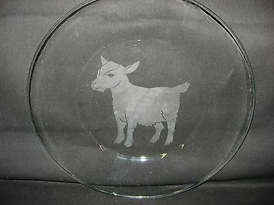 """New Etched Pygmy Goat 10"""" Glass Plate"""