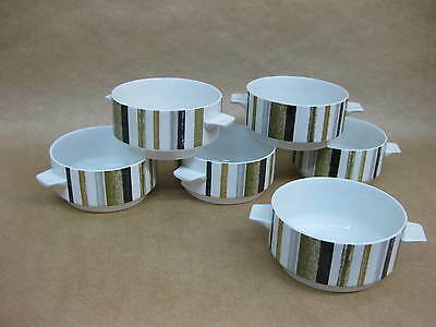 Set of 6 Vintage Midwinter Queensberry Stripe Soup Bowls / Cereal /Dessert Bowls
