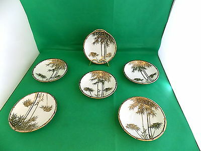 Japanese Signed Gold / Black Trees Saucers x 6