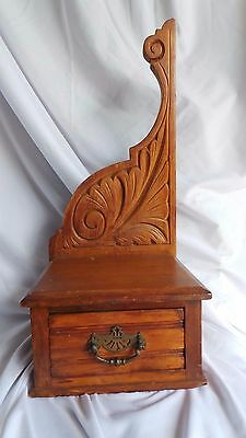 Vintage Shelf w/Drawer Salvage Arm to Mirror Carved Wood & Drawer Antique Shelf