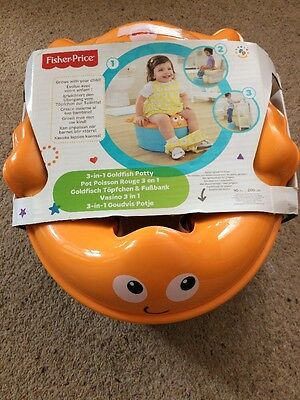 3 in 1 FISHER PRICE GOLDFISH POTTY, TOILET SEAT & STEP - BRAND NEW