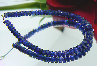 RARE NATURAL CASHMERE BLUE FACETED KYANITE RONDELLE BEADS 3-5mm AAA+++