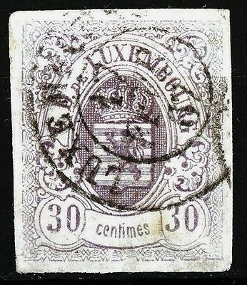Luxembourg Issue of 1859 30 Centimes Postally Used Nice Margins Scott's 10