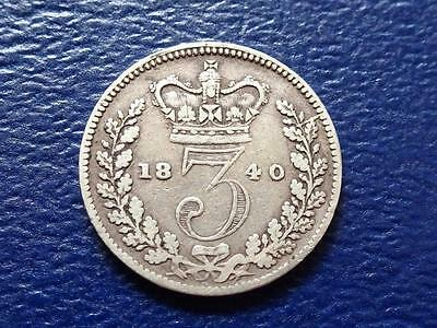 Queen Victoria Silver Threepence 1840 Great Britain Uk