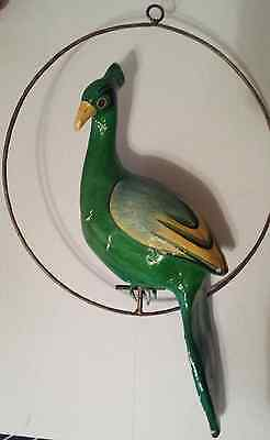 Vintage Paper Mache Green And Yellow Peacock With Original Ring Perch
