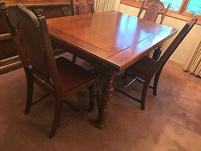 Jacobean Antique Walnut Dining Table - Buffet - Chairs VGC