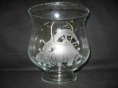 New Etched Raccoon Glass Centerpeice Bowl Pillar Candle Holder
