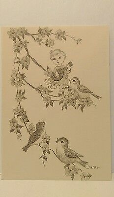 Ann Adams Mouth Artist Greeting Card - Blank - Child with Birds Singing