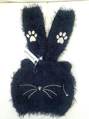 BNWT - River Island Black Cat Hat  & Gloves Set Age 7-12 Years