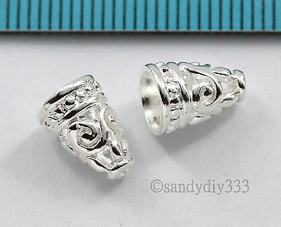 2x BRIGHT STERLING SILVER FLOWER SWIRL END CAP CONE SPACER BEAD 9.2mm #2779