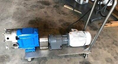 "used 3"" Waukesha Model 060 Rotary lobe pump w 5 HP, 1750 rpm, 230/460 on cart!"