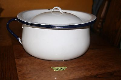Vintage Enamel Chamber Pot White Blue Trim Blue Handle With Lid
