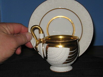 Antique German Swan Cabinet Cup And Saucer