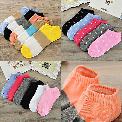 10pairs Women Casual Cute Heart Candy Color Cotton  Short Socks Ankle Boat Socks