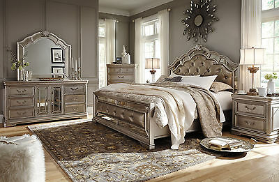 ALEX-5pcs Traditional Silver King Size Bed Faux Leather Panel Bedroom Set NEW