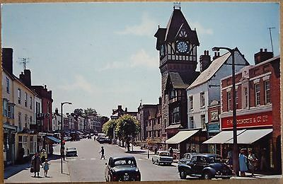 Postcard of High Street and Woolworths, Ledbury, Herefordshire, 1960s.