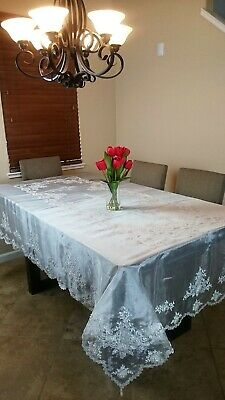 """16x36/"""" Oval White Embroidery Handmade Bobbin Lace Cotton Tablecloth Runner"""