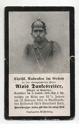 Ww1 German Death Card-Alois Dankesreiter-2 Landw Inf Rgt 1 Kmp-12 Feb 1915 Franc