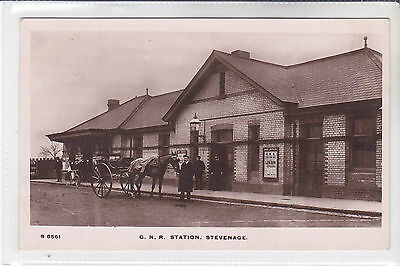 Rare Postcard G N R Railway Station, Stevenage, Hertfordshire. Horse & Cart O/s