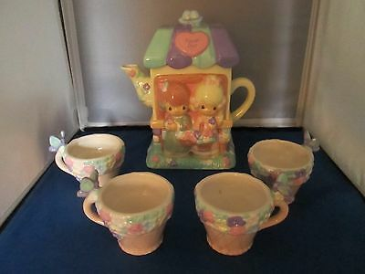Precious Moments kids & house ceramic tea set Teapot 4 cups