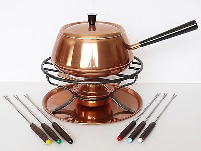 Mid Century SWISS CULINOX Spring Copper FONDUE SET Pan Burner Stand Switzerland