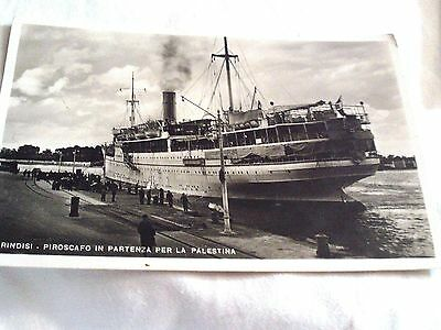 1937 ITALIAN  POSTCARD OF A SHIP HEADING TO PALESTINE, Posted in Hebrew