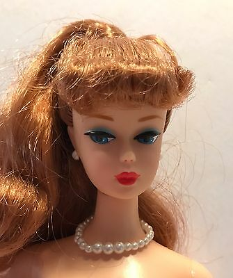 Vintage Reproduction Ponytail Barbie Doll RED HAIR Blue Eyes Pearl Jewelry Nude