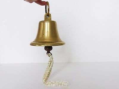 "HEAVY Vintage SOLID BRASS Hanging 5"" BELL Ship's PUB School CAST IRON Clanger"
