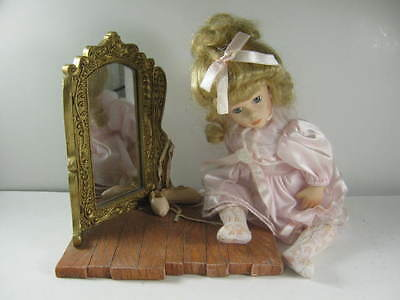 """ballet dancer porcelain Doll with pink dress & shoes on """"wood"""" stand with mirror"""