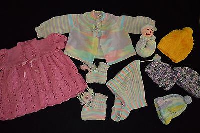LOT Handmade Crochet Knit Baby Clothes Dress Sweater Set Hats Booties Rattle
