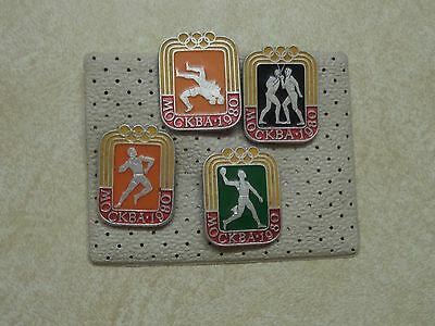 4 x Moscow 1980 Olympic Games Pin Badges