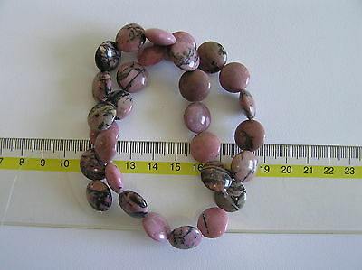 ¡Preciosas cuentas de Rodonita botón 15mm ! RHODONITE BUTTON 15MM BEADS STRAND