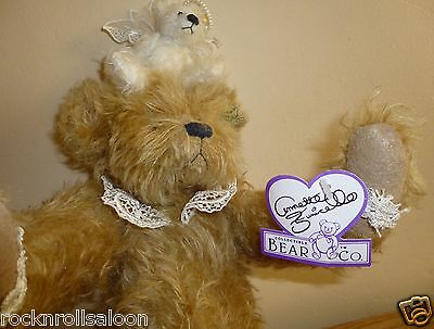 Annette Funicello Collectible Bear Co lace collar bear with mini angel preowned