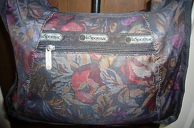 LeSportsac Hobo Travel Weekender Carry On Tote Bag Black Fruit Floral lot set 4