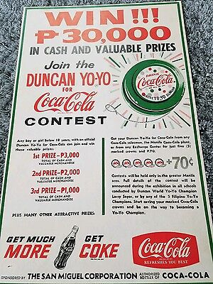 Vintage Authentic ORIGINAL VERY RARE Duncan yo yo Coca Cola contest poster 1960s