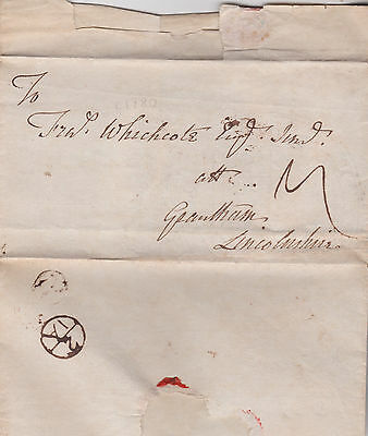 c1770s BISHOPMARK ON EARLY WRAPPER MAILED TO FRANCIS WHICHCOTE AT LINCOLNSHIRE