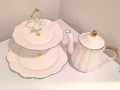 """Grace's Teaware White & Gold Teapot With matching 2 Tire(11""""& 8"""") Cake Stand_New"""