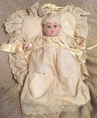 "Vintage 1981 Gerber Porcelain 12"" Christening Baby Doll With Basket & Bedding"