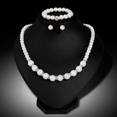 Faux Pearl Necklace Bracelet and Earring Set White Bridesmaid Women Girl Mirable