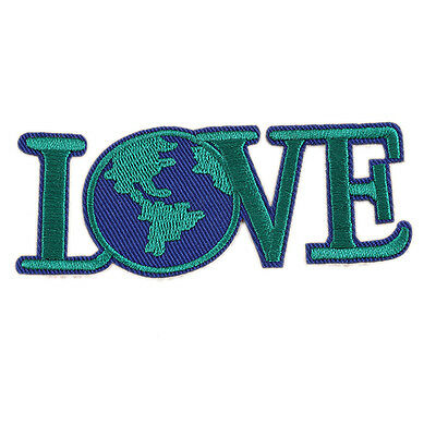 """Love Save World Earth Embroidered DIY Patch Iron Sew On Appliques 3.9""""X1.5"""""""